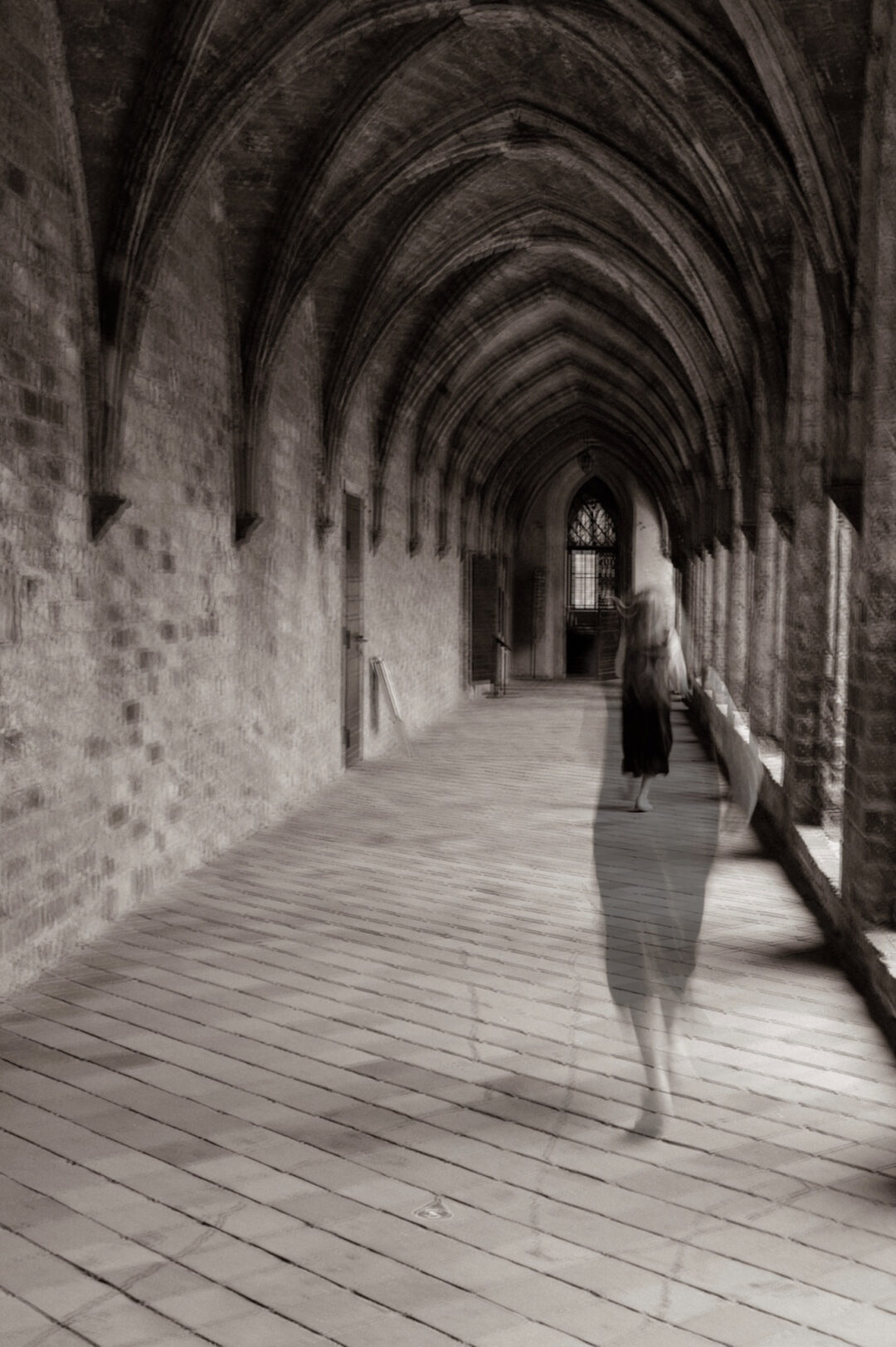 a blurred photography of girl running trough a Hogwart-esque room, her hair is blond and she wears a black dress